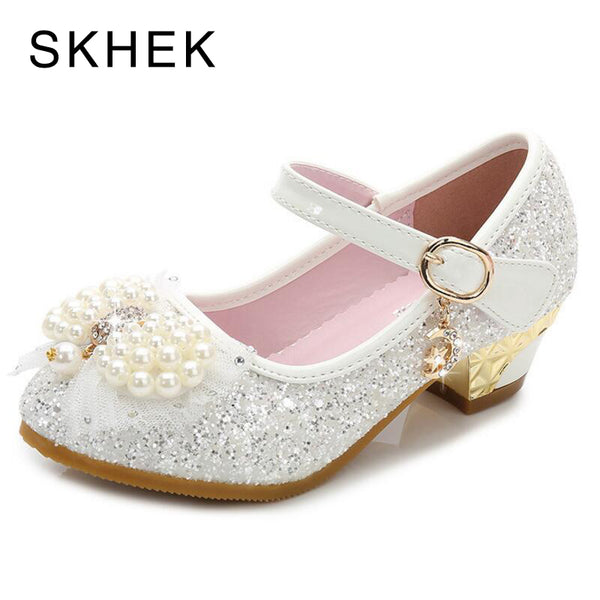 SKHEK Princess Children Shoes Girls Bowtie Candy Color Hight Heels Slip on Party Dance Sandals