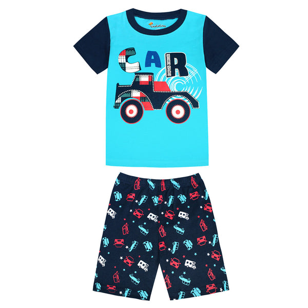 SMHONG Children's pajamas set summer short sleeved boy car pyjamas girls cartoon home clothes