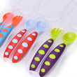 Safe Plastic Baby Spoon+ Fork Anti-Skid Handle Learning Tableware Adaptable Baby Toddler Flatware infant Dishes with Storage Box