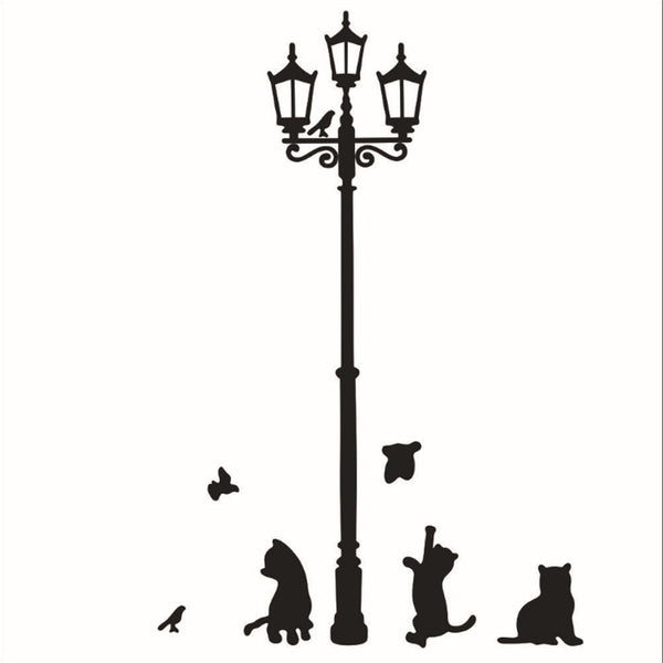 Sale Removable Black Lamp Cat Bird Wall Sticker Home Decoration Adhesive Wallpaper Mural Decal 23x42CM