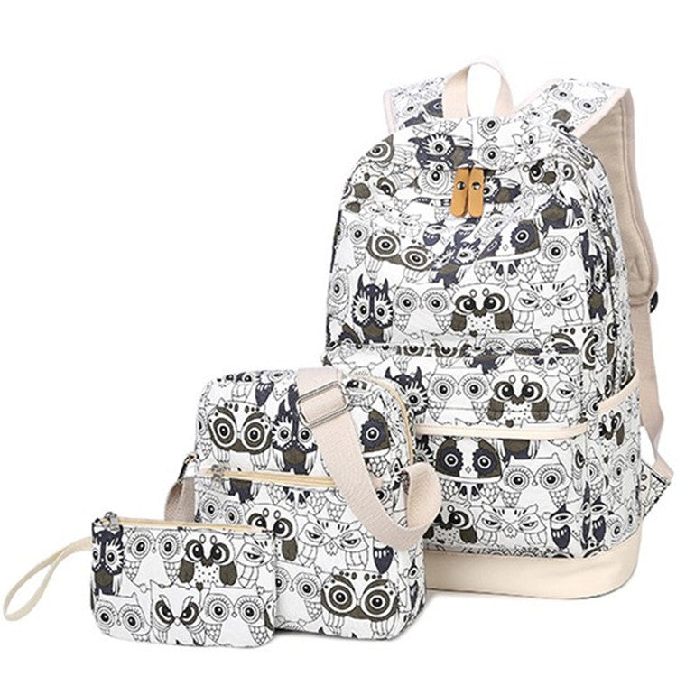 bd2d19c3a Set Backpack Women Animal Owl Printing Backpack Canvas Bookbags ...