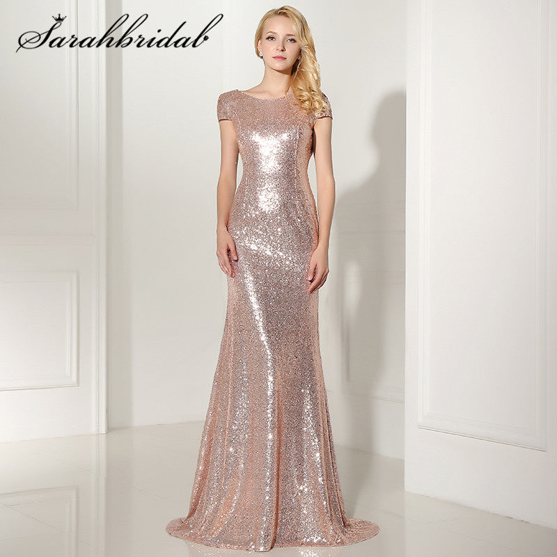 Sexy Backless Rose Gold Sequined Evening Dresses Cap Sleeves Mermaid Long Cheap Party Gown Vestido