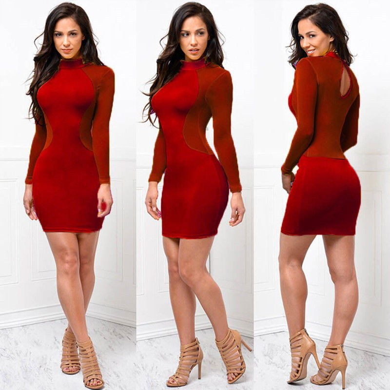 b5ac4473cf5 Sexy Bandage Dress New Winter Black White Dress Long Sleeve Mesh Patchwork  Hollow Out Pencil