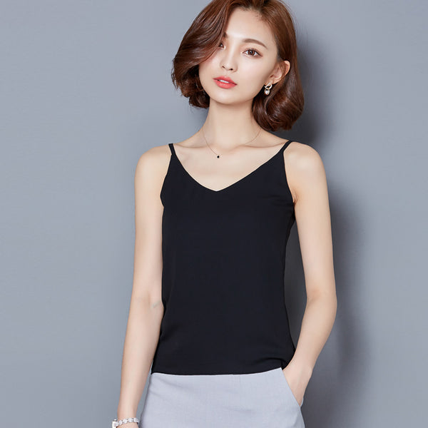Sexy Tank Tops Women Summer Sleeveless Solid Chiffon Crop Tops V Neck Top Tees Vest Camis Blusas 2017 A302