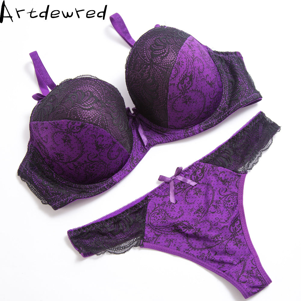 Sexy Thong Lace Push Up Bra Set Lingerie Women Underwear Sets Intimates Embroidery  Floral Black White Big Size Bra Brief Sets – Beal  07dd46b8a