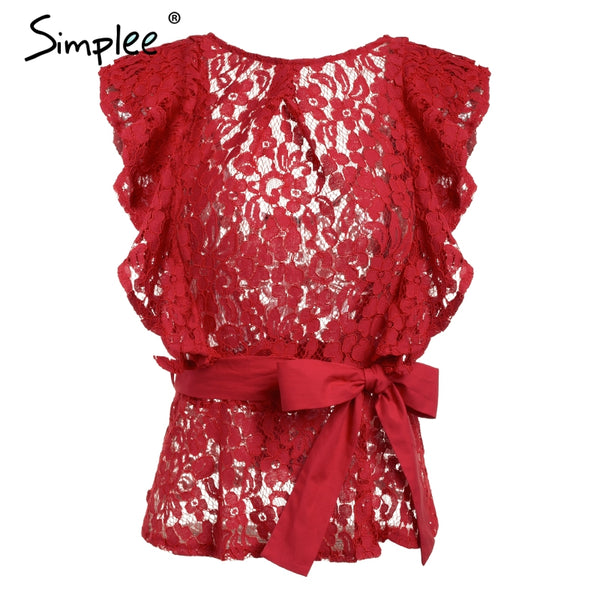 Sexy backless ruffle lace blouse women Sleeveless belt summer blouse female top 2018