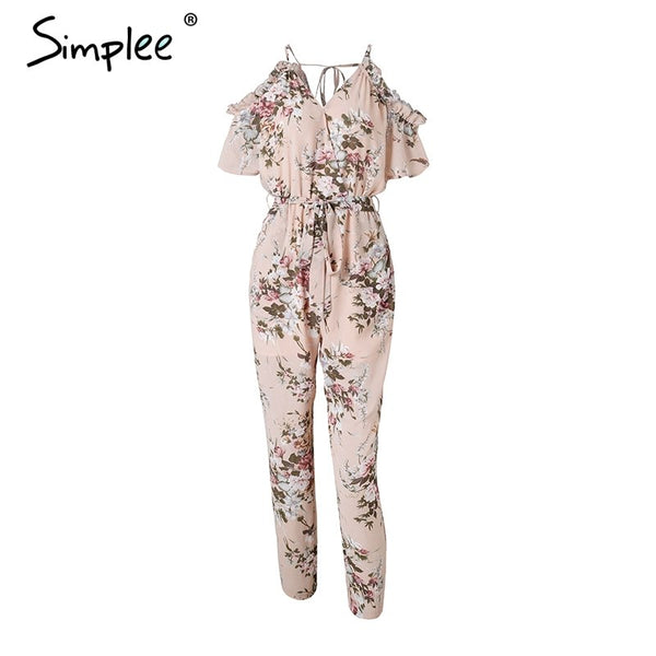 Sexy cold shoulder long jumpsuit romper Boho floral print ruffle backless playsuit Elegant