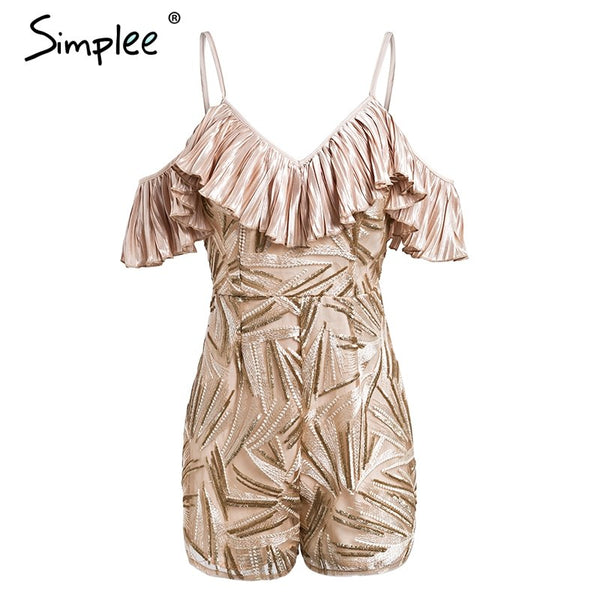 Sexy cold shoulder rompers womens jumpsuit Ruffle embroidery summer playsuit High waist