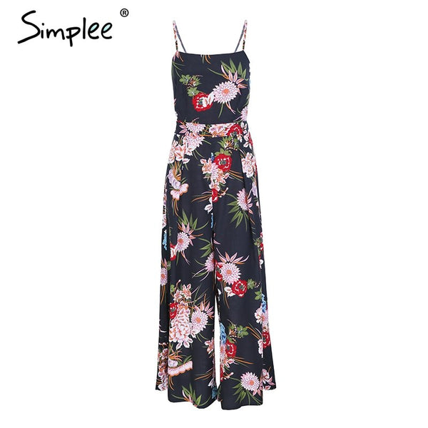 Sexy floral print strap backless jumpsuits women Solid tie up bow flare opening playsuits
