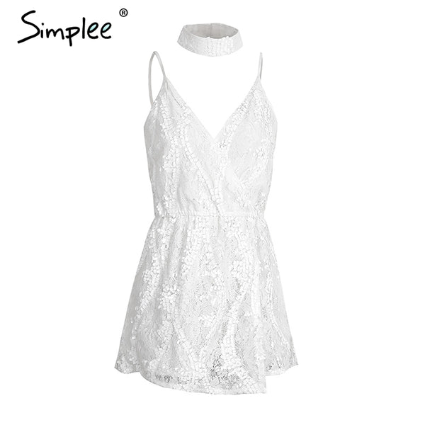 Sexy halter sequined jumpsuit romper Chic deep v neck white lace  playsuit women Summer