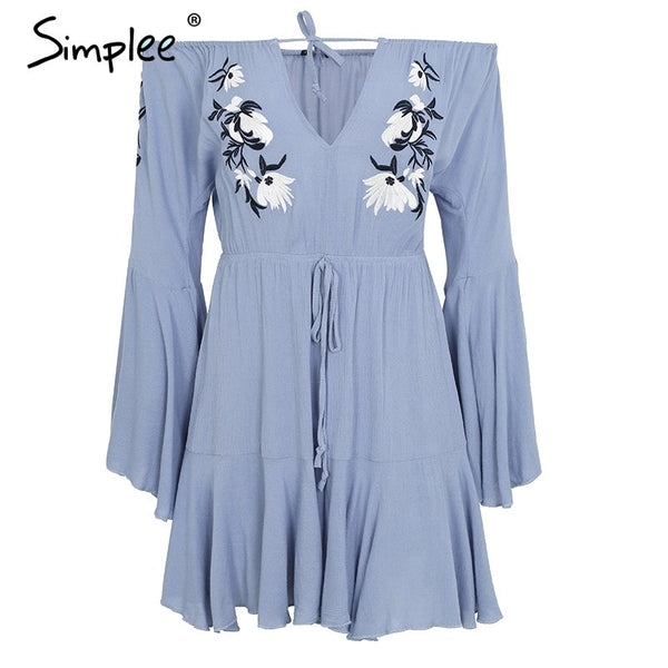 Sexy off shoulder embroidery jumpsuit romper women Flare sleeve ruffle short playsuit