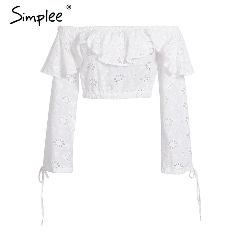 ce7cc0e51fa Sexy off shoulder ruffles hollow out blouse Women long sleeve split tank  crop top blouse Autumn streetwear blouse female – Beal | Daily Deals For  Moms