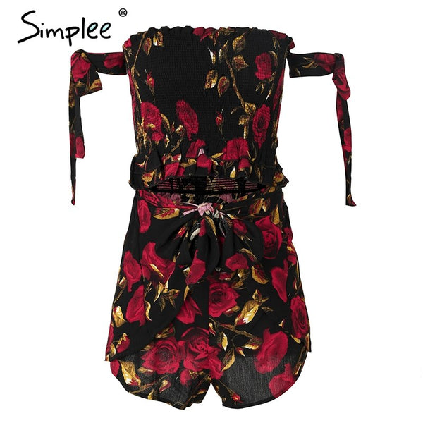Sexy print strapless two-piece romper Women ruched ruffle  casual summer jumpsuit 2018 Boho