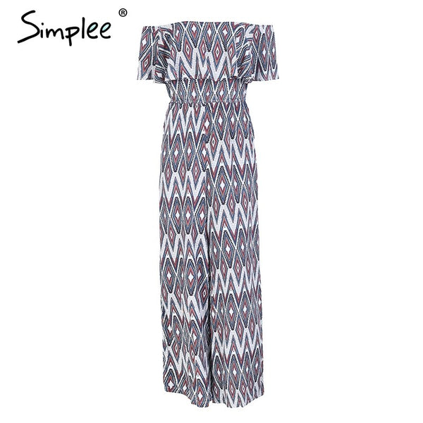Sexy slash neck print long jumpsuit women Strapless ruffle casual loose playsuit 2018