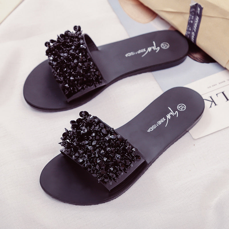 4b8c010a8 Silver Rhinestone Slippers Women Slides Summer Beach Fashion 2018 Sandals  Rivet Casual Flats Ladies Shoes Sandals Shiny – Beal