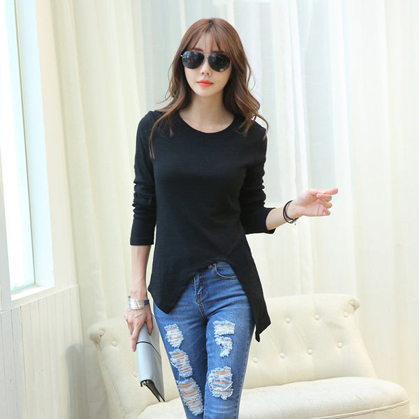 Simple White Black Women Spring And Autumn Slim T Shirt Sexy Split Tops Fashion Long T-Shirt Woman Clothes Harajuku 2016 Camiset