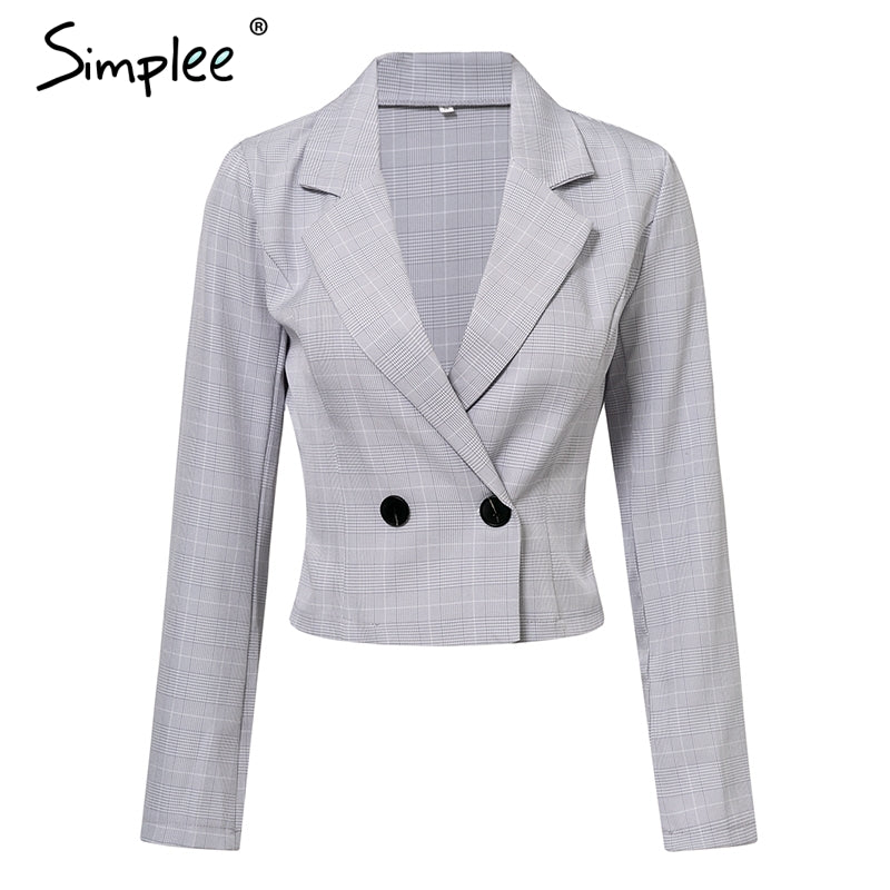Simplee Autumn single breasted plaid ladies blazer women suit jacket Office  short leisure coat uniform style blazers outerwear – Beal  1fa9f4e83