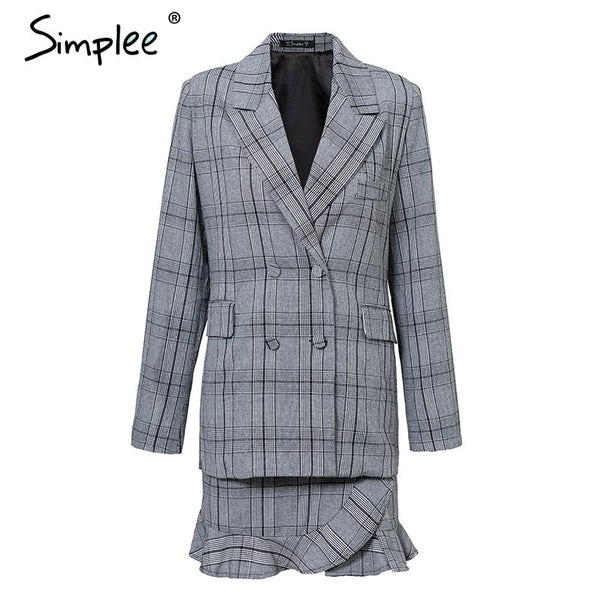 Simplee Elegant plaid double breasted women blazer suit long sleeve office lady fashion blazer suit