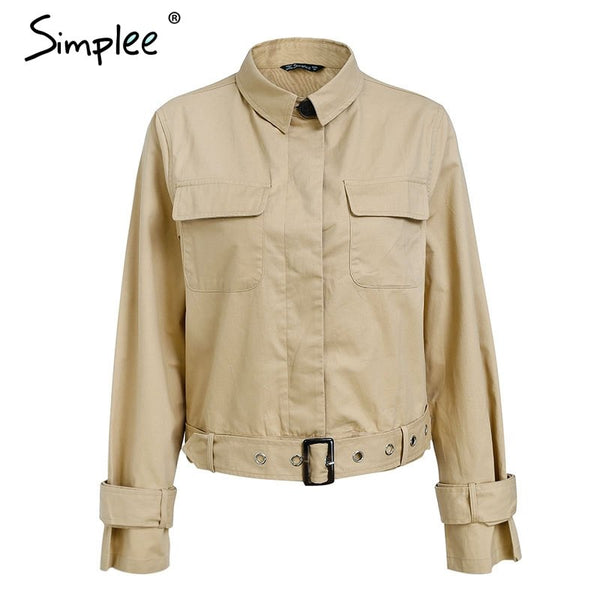 Simplee Elegant stand neck autumn winter coat women Cool sash long sleeve outerwear coat Casual