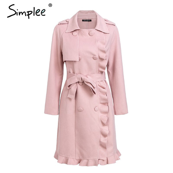 Simplee Elegant wide lapel belt women coat Long ruffled trim wool coat women 2018 Autumn winter