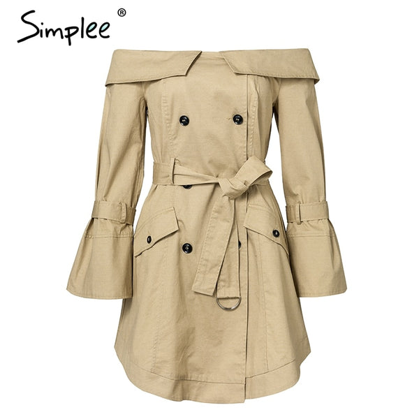 Simplee Sexy off shoulder trench coat women Elegant khaki outerwear coats Double breasted sash