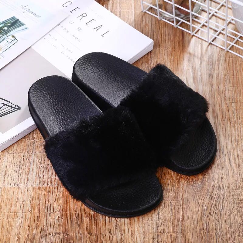 5d7628e5cfeb Slippers Womens Zapatos Mujer Ladies Slip On Sliders Fluffy Faux Fur ...