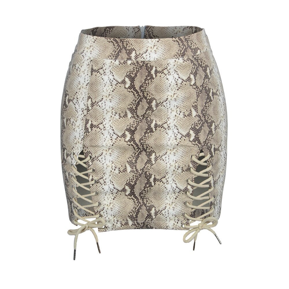 d6c0352f1f Snake Skin Print Sexy Bodycon Skirt Women Fashion High Waist Line Short  Skirts Side Hollow Out Bandage Lace Up Skirt – Beal | Daily Deals For Moms