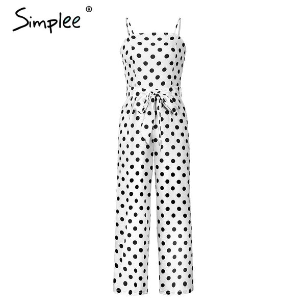Spaghetti strap polka dot vintage jumpsuit women Sash high waist casual jumpsuit Wide leg