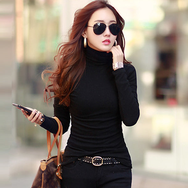 Spring Autumn Winter Fashion Turtleneck Tops Long Sleeve Cotton T Shirt Slim Casual t-shirt women 2017 Basic Tees Shirts A550