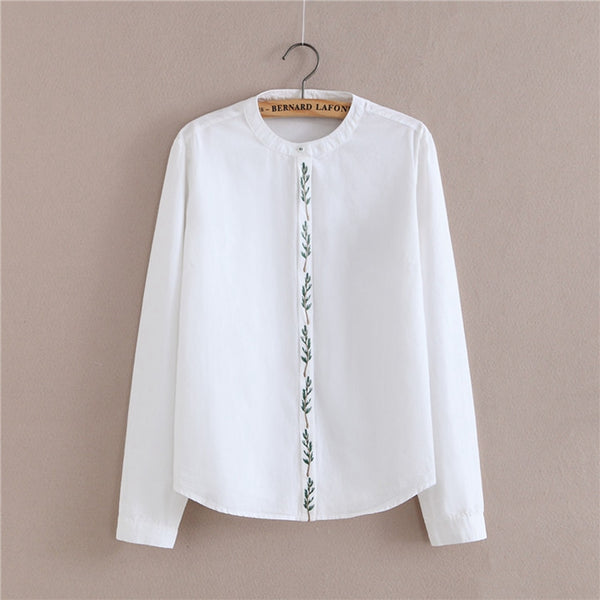 Spring Autumn Women sweet Small Tree Embroidery Solid Simple shirts long sleeve Cotton blouse Stand Neck casual tops blusas CS35