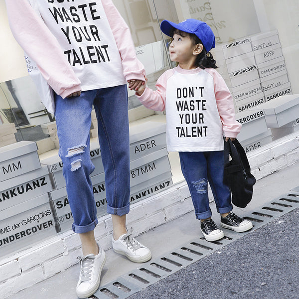 Spring summer Family Match Clothes Woman Kids Boy Girl denim pants broken holes jeans mom and me Outfit Matching Clothing