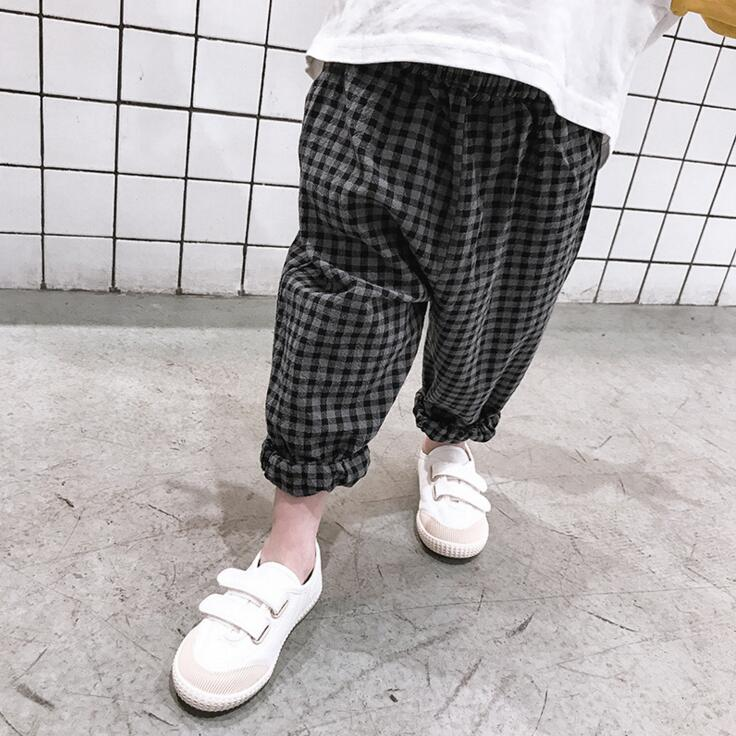 1ecbc6a54 Spring summer new style boys and girls Korean style plaid pants ...