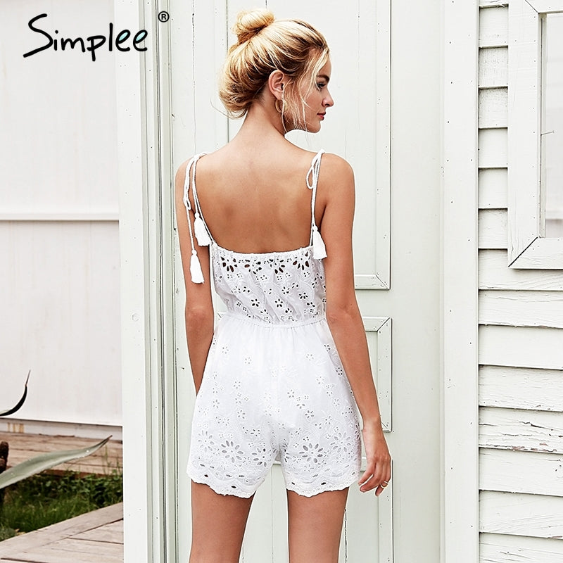 79ca0bc69d1 Strap cotton embroidery white rompers Womens jumpsuit tassel crochet sexy  playsuit Summer high waist macacao feminino – Beal