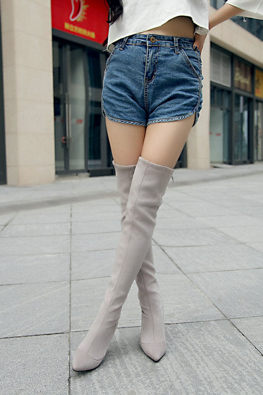 40c827564 Stretch Suede Women Thigh High Boots Stilettos Sexy Over the Knee Boots  Pointy Toe High Heel Long Boots Black Gray with Zipper – Beal | Daily Deals  For Moms