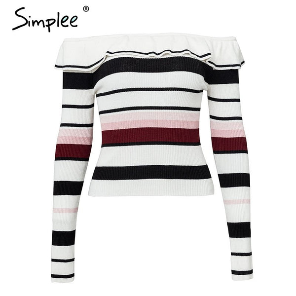 Stripe off shoulder women sweater Long sleeve women sexy pullover 2018 Autumn winter casual