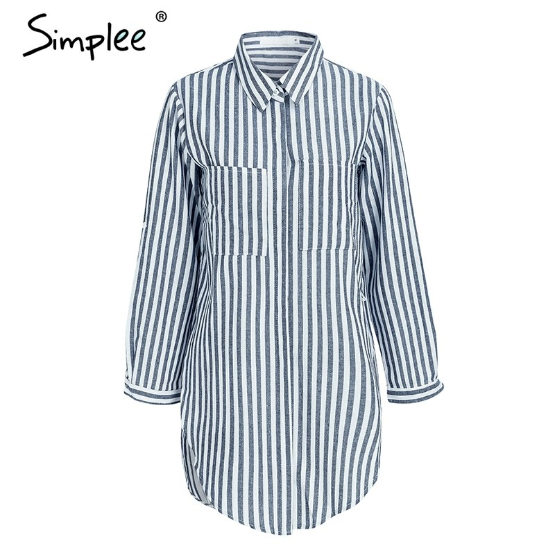 b53bbd20 Striped front pockets long blouse shirt Casual stand neck blouse ...