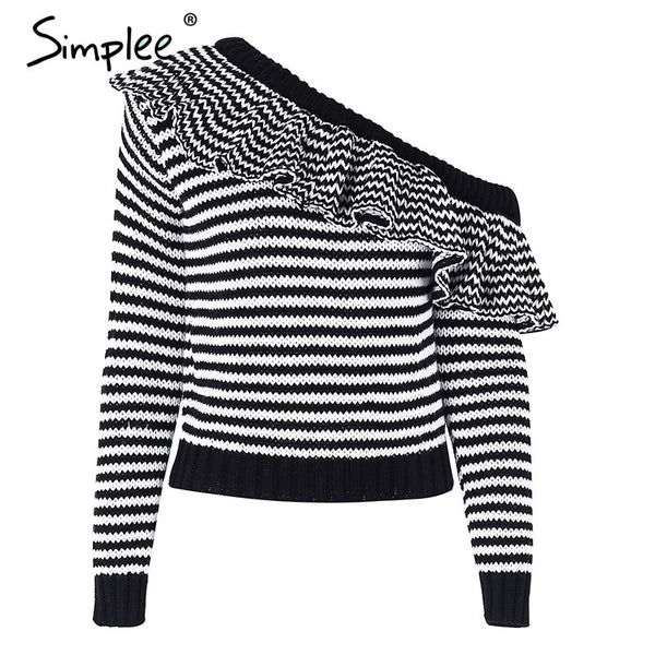 Striped knitted pullover sweater women One shoulder ruffle long sleeve jumper Casual autumn