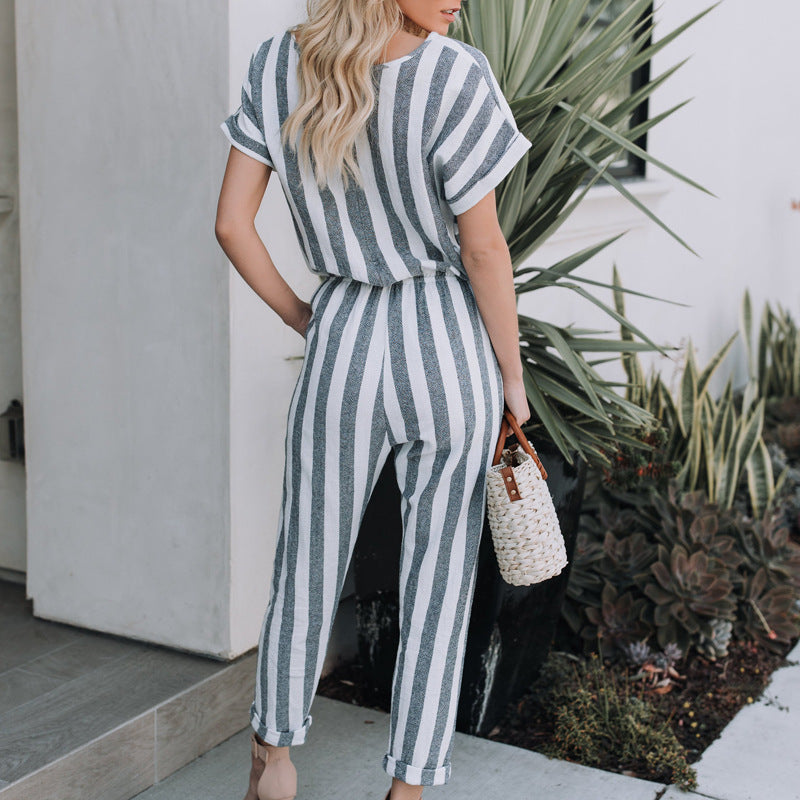 c45b19a731e7 Striped printed rompers women jumpsuits Casual loose jumpsuit with poc –  Beal
