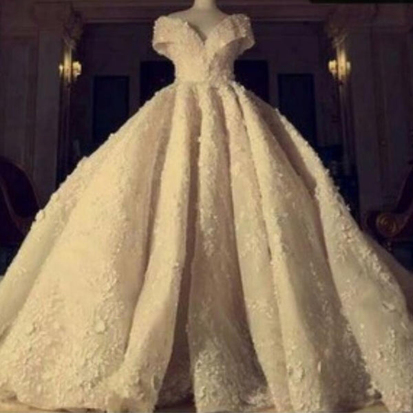 Stunning Grand Empire V Neck Wedding Dress Off the Shoulder Royal Train High-end Bridal Gown Custom