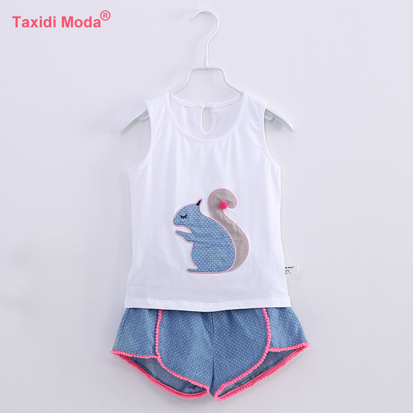 Summer 2 Piece Girls Clothing Set 100% Cotton Embroidery 2018 White Vest Kids Tank Tops+Blue Dot