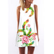 Summer 2018 Sweet Cute Women Dress Sleeveless O-neck Printed Short A-line Dress Off Shoulder Tank Dress Loose Sexy Dress Vestido