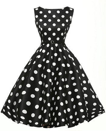 Summer 50s 60S Dress Elegant Women Vintage Rockabilly Pinup Party Dresses  Female Black White