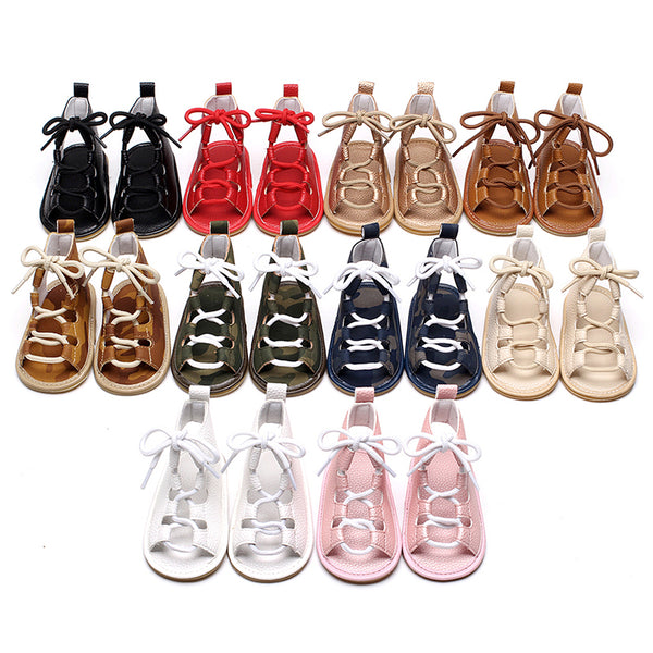 Summer Baby Girls Flat Heels Lace-up Sandals Girls Toddler Rome Sandals Baby Boy Gladiator Sandals Kids Leather Sandals 10 Color