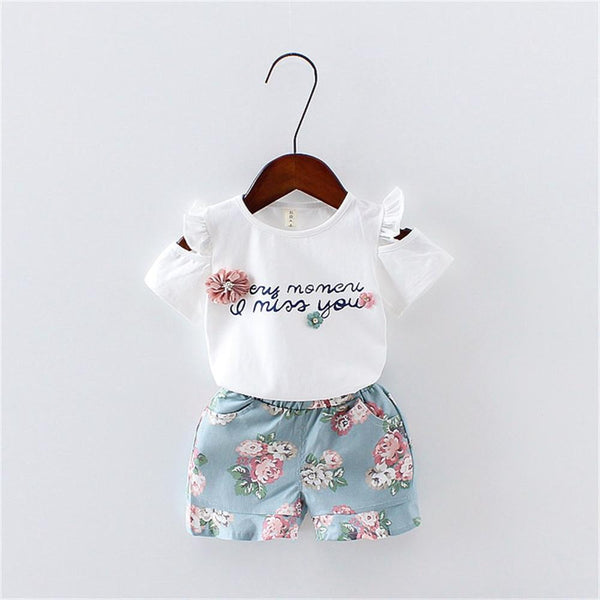 Summer Baby Girls Suits 2018 New Casual 1 2 3 Year Toddler Children Clothing Set Letter T-shrts