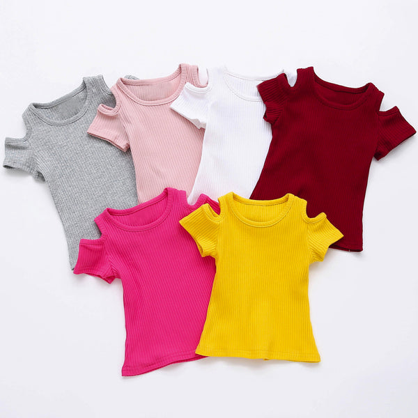 Summer Children T Shirt Casual Simple Baby Girls Soft Cotton Tops Kid Toddler Short Sleeve