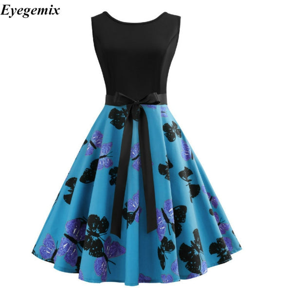 Summer Dress 2018 Casual Butterfly Print Patchwork Sundress Plus Size Hepburn 50s 60s Vintage