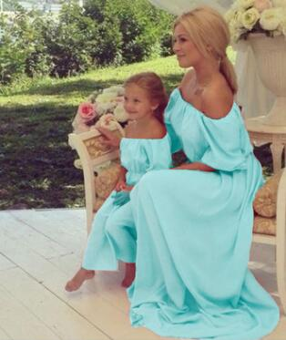 Summer Family Matching Clothes Outfits Maxi Strapless Mother Daughter Dresses Family look Clothing Beach Mom and Daughter Dress