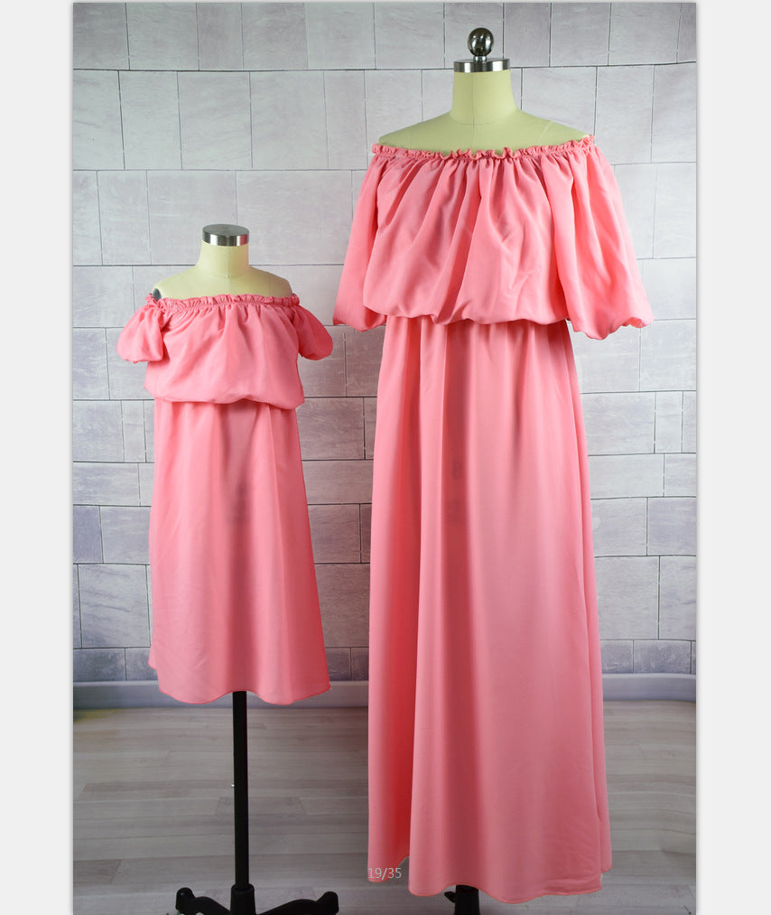 2253844cf130 Summer Family Matching Clothes Outfits Maxi Strapless Mother Daughter –  Beal