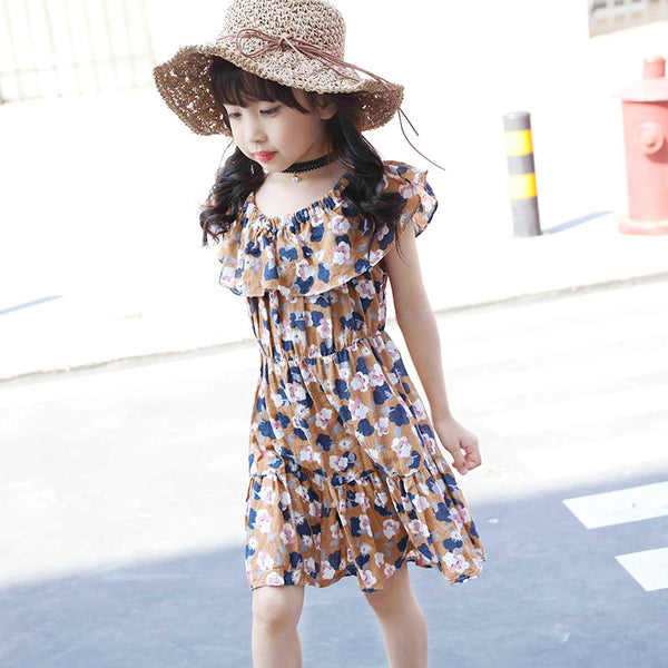 Summer Fashion Girls Dress for Children Cotton Beige Blue Dresses Casual Shoulderless Floral fit 3~12 years Kids Vestido FH446