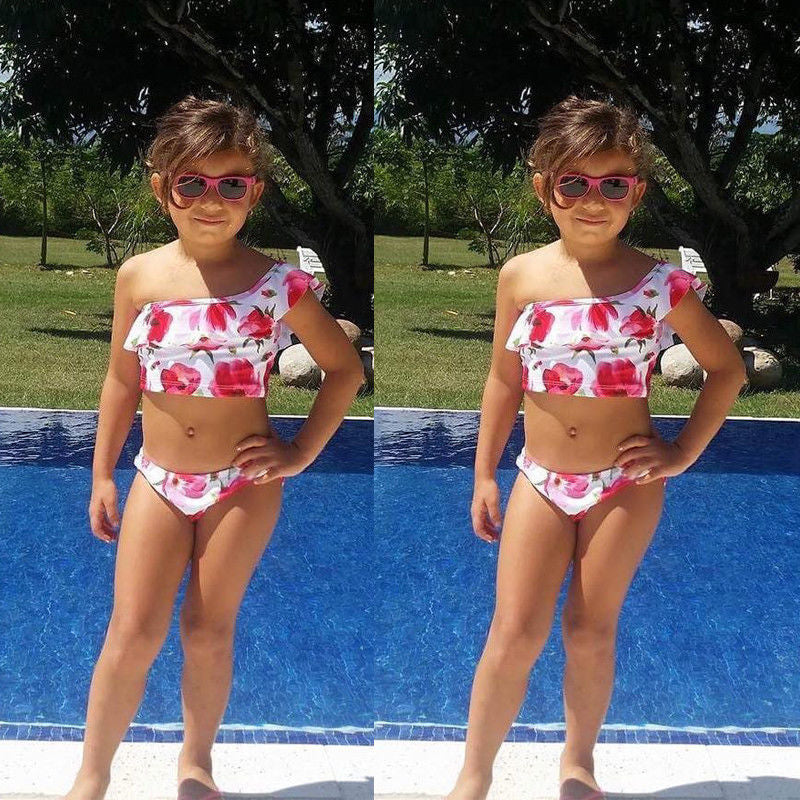 271769e921 Summer Kid Girl Swimwear 2018 Children's One Shoulder Swimsuit Two  Pieces Floral Printing Bikini Bathing Swimming Suit Biquini – Beal | Daily  Deals For ...